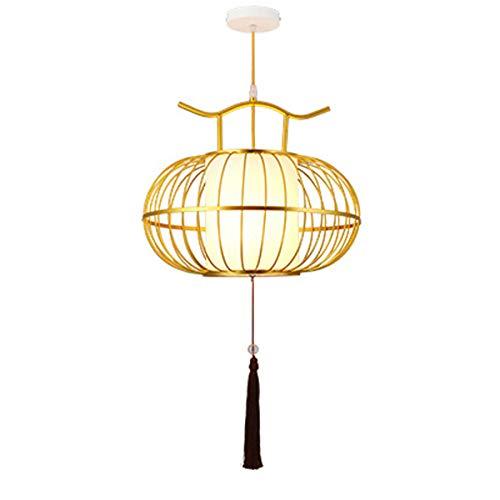 Lustre De Techo Iluminación del hogar Decoración del hogar Restaurante personalizado Araña de metal Estilo chino Lámpara de la linterna H 300 mm (11.8 pulg. (Color : AC 220V-Gold)