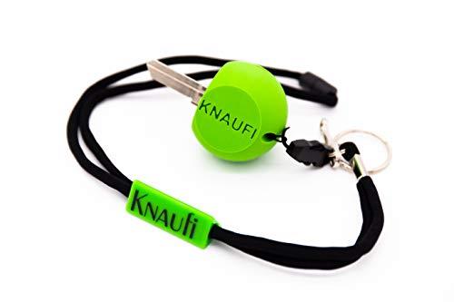 KNAUFI - SCHLÜSSELDREHHILFE IN KNAUFFORM - Perfekte Greifhilfe/Alltagshilfe für Senioren, Menschen mit Handicap und Sehbehinderte Menschen inkl. Schlüsselband mit Panikverschluss - (Apfelgrün)