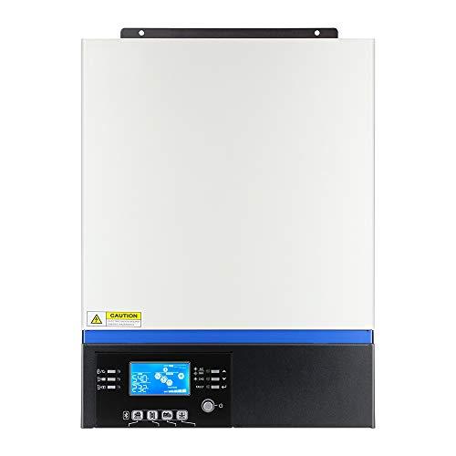 Inversor de corriente solar híbrido de 5000 W, batería de 48 V con regulador de carga solar MPPT, inversor de onda sinusoidal pura con Bluetooth integrado