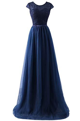 Babyonlinedress® Mode Elegant Spitzen Abendkleid Brautjungfer Trauzeugin Kleider Brautkleid Tüll Faltenrock Partykleid Langes Kleid Navyblau 44