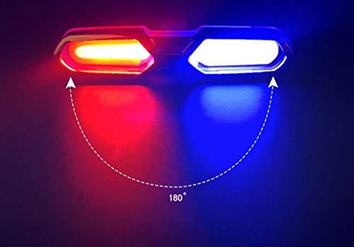 STRIDCJX Fietslampen, achterlicht, accessoires voor mountainbike-fiets, waarschuwing voor nachtvoertuig, USB, X-men – rood, wit en blauw, C