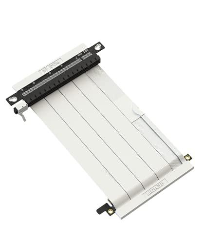 LINKUP - Cable Montante Ultra PCIe 4.0 X16 [Testado en RTX3090 RX6900XT x570 B550 Z590] Montaje Vertical Blindado Gaming PCI Express Gen4┃Conectores Dual Reverse{14cm} Compatible con Caja SSUPD┃Blanco