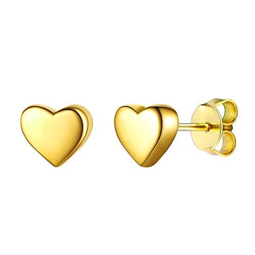 Silvora Unisex Pendientes con Corazón Oro Pendientes Chicos de Tuerca