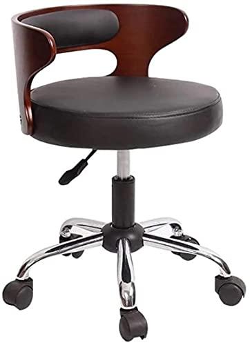 HZYDD Taburete de bar de madera maciza, silla de ordenador, mesa de bar simple, silla giratoria con 5 ruedas, rotación de 360° con respaldo negro, marrón (color: marrón) (color: marrón)