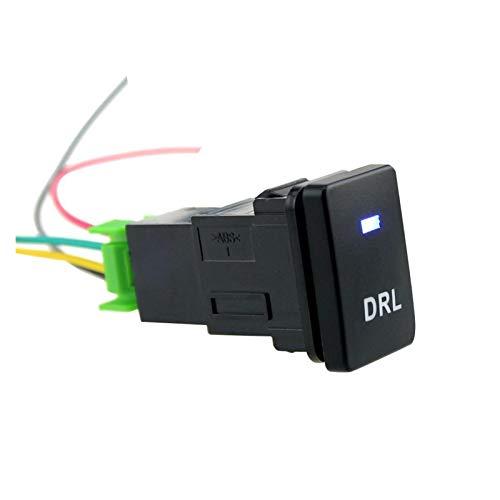 JIEYANG YouCg 150 mm Cable BlueCar DRL botón de Interruptor de Día Luz LED 12V con Cables Ajuste para Toyota Camry Corolla Yaris Highlander Prado