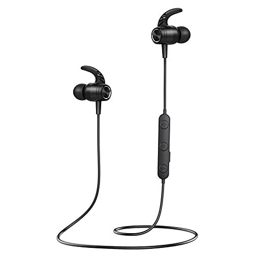 Cuffie Bluetooth Sport, Bassi Potenziati e Stereo Hi-Fi, Auricolari Bluetooth Sport CVC 8.0 Cancellazione Rumore Microfono,S10 IPX7 Impermeabili, Cuffie Wireless Sport con 14 Ore di Gioco per corsa