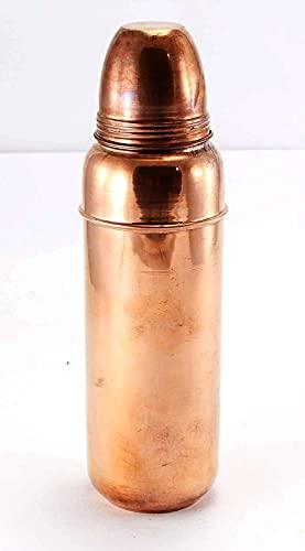 Botella de agua de cobre de 1 litro/1000 ml, a prueba de fugas, acabado mate, fácil de limpiar, paquete de 1 para oficina, yoga, gimnasio, hogar, uso multiusos