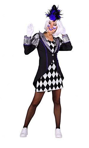 narrenkiste T3267-XS - Chaqueta y vestido de payaso para mujer, talla XS = 36, color blanco y negro