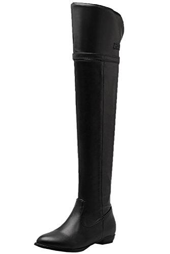 Unbekannt Overknee Stiefel Damen Herbst Winter Bequem Flach Schnalle Oberschenkel Stiefel von Bigtree Schwarz 43 EU