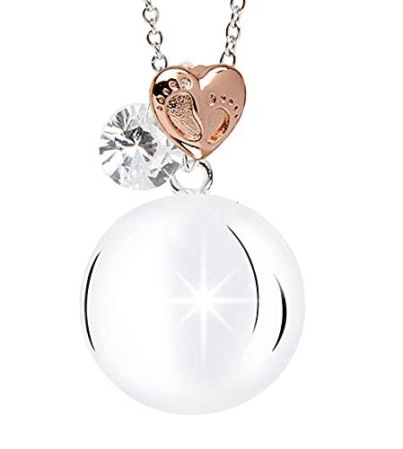 Mamijux® - Llamador de ángeles con corazón central con pies grabados y cadena de acero de 110 cm de largo