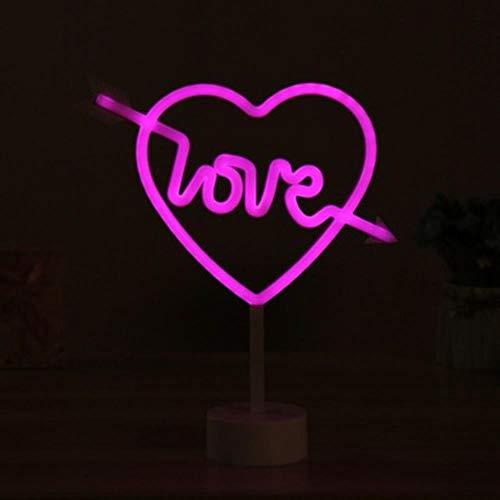 LED Neon Lights Tafellamp Letter Sign Art Nachtlampje Decoratief voor Vakantie Bruiloft Bar Winkel Slaapkamer Kamer Raam Open Woorden Decor, Hart 2
