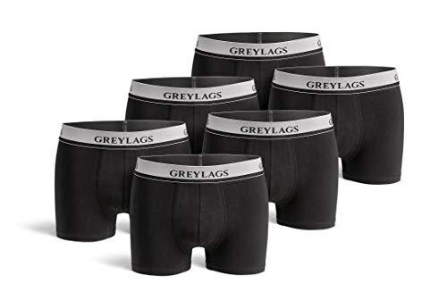 Greylags Premium Boxershorts/Retroshorts für Herren | Unterwäsche im praktischen 6er Pack | Farbe: schwarz | Größe S | Röhre Lang