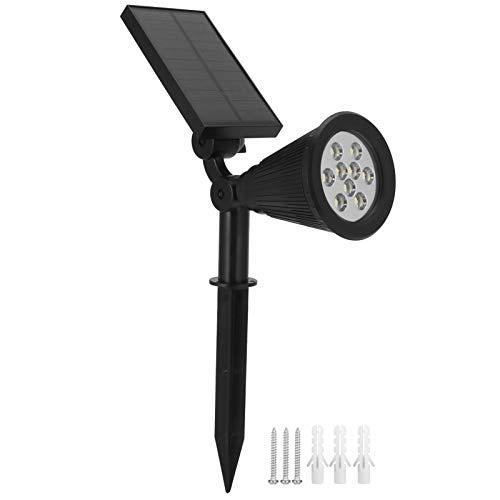 Deror Focos solares, 9 LED Chips Focos solares Luces LED solares para Paisaje para Patio de jardín al Aire Libre (7.5x5.5x3.1in)(Warm Light)