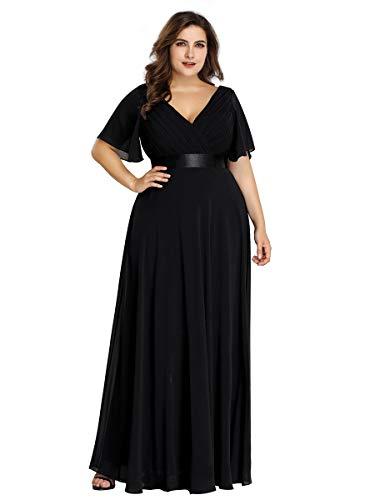 Ever-Pretty Damen Abendkleid A-Linie Lange Partykleid V Ausschnitt Kurze Ärmel Hohe Taille Schwarz 46