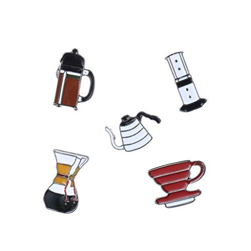 Pin broche cartoon kopje koffie metalen badge kleding accessoires sieraden gift 5pcs