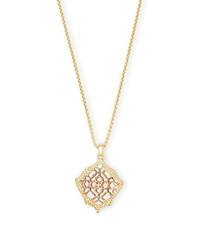 Kendra Scott Kacey Adjustable Length Pendant Necklace for Women in Mixed Metal Filigree, Fashion Jewelry, 14k Gold-Plated and 14K Rose Gold-Plated