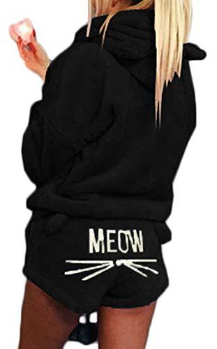 Socluer Femme Chat Meow Pyjama Hoodies + Shorts Outfit Hiver Ensemble de Deux Pièces Pyjamas Corail...