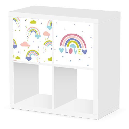 Debe Kallax - Juego de cajas de almacenamiento para habitación infantil, diseño por ambos lados, 33 x 33 x 38 cm, plegable, caja para juguetes, 2 unidades