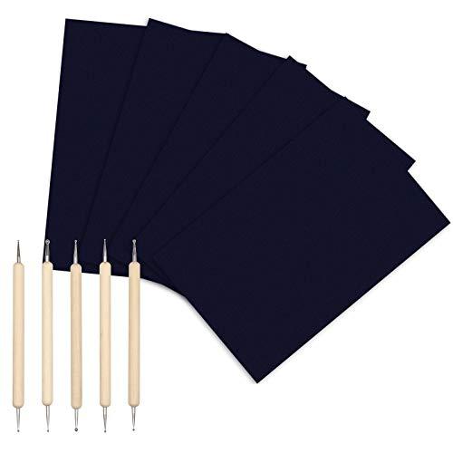 Matogle 150 hojas Papel de transferencia de carbón Papel de calco Papel de copia Papel negro DIN A4 de repetición con 5 herramientas de calco para papel de cartón y otras superficies artísticas