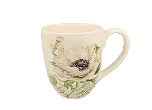 Duo Jumbotasse Becher XXL folkloristische Deko 810 ml Keramik Trinkbecher Smoothie Becher Geschenk Büro Tasse für Kaffee Teetasse Cappuccino Kaffeebecher Jumbo-Tasse Riesentasse XXXL (White Flowers)
