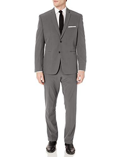 Perry Ellis Men's Slim Fit Machine Washable Tech Suit Conjunto Traje-Vestido, Tecnología sólida Gris, 40 para Hombre