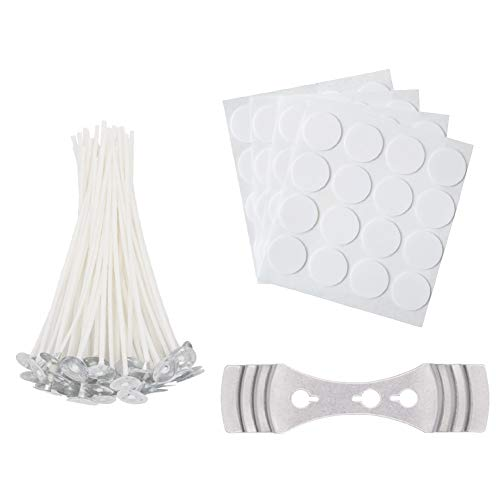 INTAR 64 Pieces Cotton Candle Wicks with Candle Wick Stickers and Centering Device for Candle DIY, Candle Making Kit (4 inch)