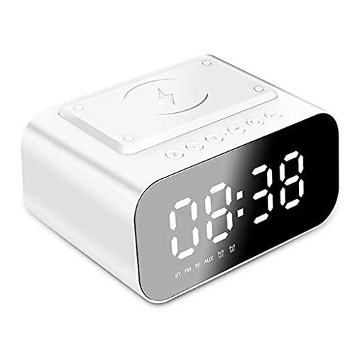ZXQZ Altavoces portátiles Bluetooth Altavoces, reloj digital con carga inalámbrica, tres modos de ajuste de luz, altavoz envolvente estéreo HIFI de 5 W (color: blanco)
