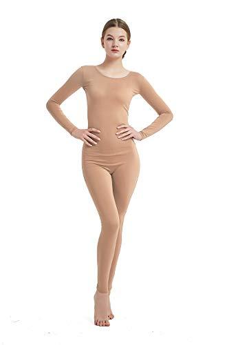Full Bodysuit Womens Long Sleeve One Piece Jumpsuit Spandex Zentai Unitard (Medium, Nude)