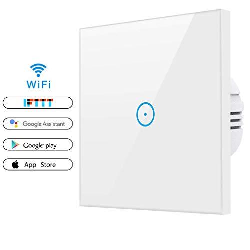 Alexa Lichtschalter, Smart Wifi Lichtschalter arbeitet mit Amazon Alexa, Google Home, gehärtetes Glas Touchscreen-schalter mit Timerfunktion und Überlastungsschutz (1 Gang)