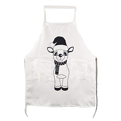 No brands Personalised Apron with Pockets Kitchen Apron Funny Cooking Apron Cute Reindeer with Christmas Hat Black Cooks Present, Bakers Present, Friend, Mum Present, Apron Cooking Gift