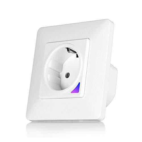 TEEKAR Alexa Steckdose, ZigBee 3.0 WLAN Steckdose Unterputz Kompatibel mit Alexa und Google Home, Voice APP Steuerung Smart WiFi Wandsteckdose mit Timing Funktion-Magnetic Rahmen