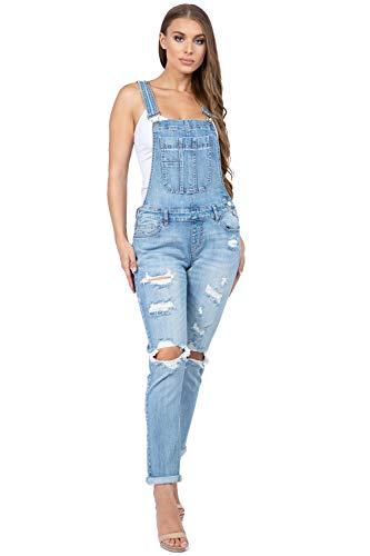 TwiinSisters Women's Stretchy Ripped Classic Casual Slim Fit Denim Jumpsuit Bib Overalls for Women - Medium, Blue