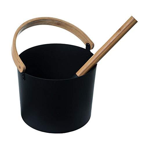 KiGoing 7L Saunakübel Saunaeimer,Saunakübel mit Kelle Saunazubehör,Sauna Eimer Finnland aus Aluminium mit Langem Löffelgriff und Passendem Schöpflöffel