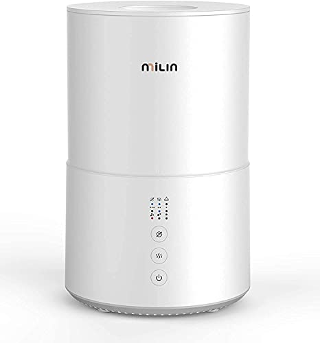 Cool Mist Humidifier, MILIN Top Fill Germ Free De-humidifiers for Large Home w/ Essential Oil Diffuser for Bedroom, Baby, Plants, Kids, 20 Hours Air Humidifier with Sleep Mode, Low Water Reminder, 2L
