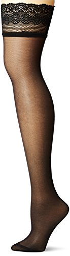 DKNY Damen Sheer Lace Thigh High Strümpfe, schwarz, Small-Medium