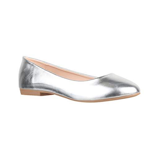 Elara Damen Ballerina Bequeme Slip Ons Flach Chunkyrayan B3039H BL Silver 38