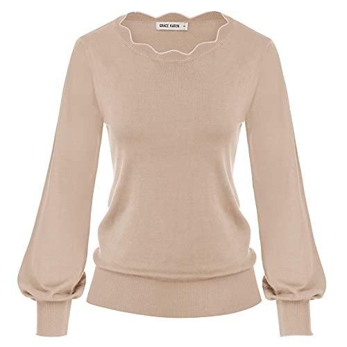 GRACE KARIN Pullover Donna Sottile Manica Lunga Maglione per Vestito Casuale Cropped Corto Camel L CLA02665-8