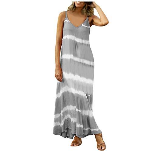 BALABA❥Women's Casual Plus Size V Neck Tie Dye Spaghetti Strap Dress Loose Maxi Dress Sleeveless Flowy Beach Long Dress Gray