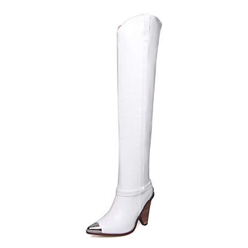 Damskie zakolanówki damskie zakolanówki, profilowane buty na wysokim obcasie w szpic, pierwsza warstwa wierzchnia ze skóry bydlęcej i podszewka ze świńskiej skóry (Color : White, Size : 40 EU)