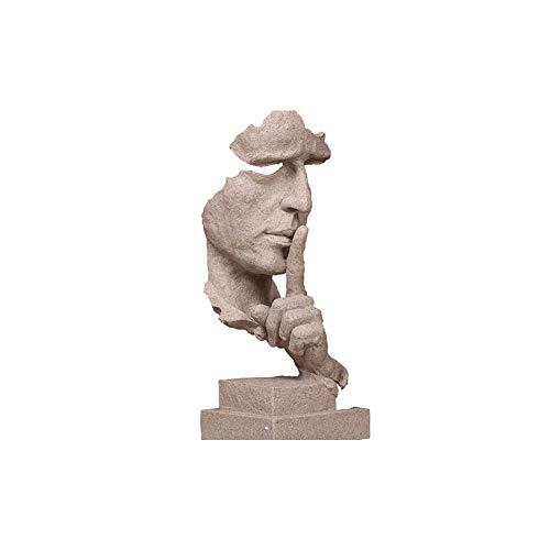 BOVER BEAUTY 1PC Schweigen ist Gold - Handcrafted schweigsame Männer Statuen Harz Abstrakt Hand Gesicht Statuen und Skulpturen für Haus Wohnzimmer-Dekor - Offwhite 35CM