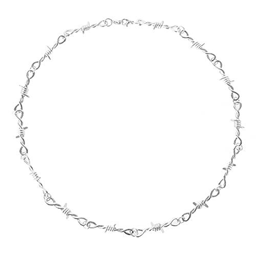 Collar Colgante Gargantilla Unisex de hierro con zarzas de alambre pequeño gargantilla de cadena de espinas pequeñas de alambre de púas estilo Hip hop Punk para mujer regalos Collar amistad Regalo