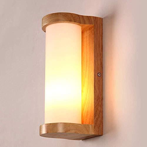 Wand-Laterne Wand Spotlight LED-Beleuchtung Holz-Wand-Licht, Modern Minimalist Innenrundmattglas Lampshade Wandleuchte, Schlafzimmer Nachtnachtlicht Restaurant Wohnzimmer-Dekoration Sconce LQH