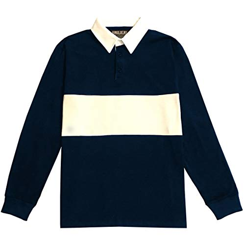 Kings Of NY Classic Mens Long Sleeve Sports Polo Rugby Shirt Small Navy Blue