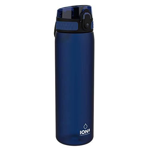Ion8 auslaufsichere schlanke Wasserflasche / Trinkflasche, BPA-frei, 500ml / 18oz, Dunkelblau (Frosted Navy)