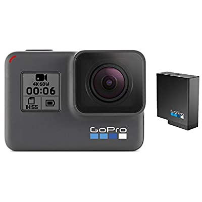 GoPro HERO6 Black + Extra Battery - E-Commerce Packaging - Waterproof Digital Action Camera with Touch Screen 4K HD Video 12MP Photos Live Streaming Stabilization from GoPro