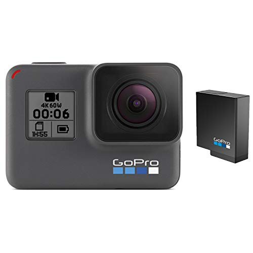 GoPro HERO6 Black + Extra Battery - E-Commerce Packaging - Waterproof Digital Action Camera with Touch Screen 4K HD Video 12MP Photos Live Streaming Stabilization
