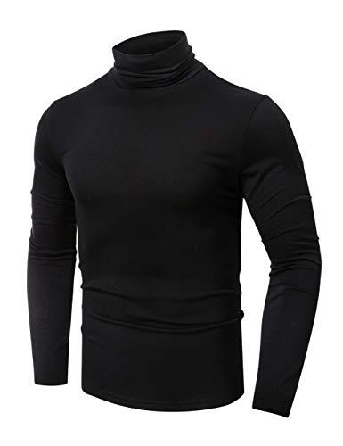 QualityS Mens Slim Fit Soft Turtleneck Long Sleeve Pullover Lightweight T-Shirt Black M