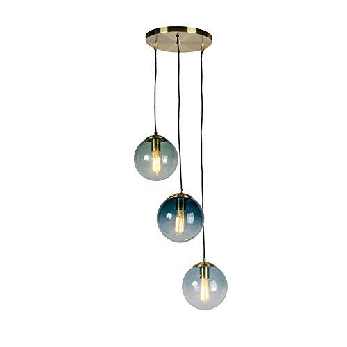 QAZQA Art Deco Art Deco Hängelampe Messing mit blauem Glas - Pallon/ 3-flammig/Innenbeleuchtung/Wohnzimmerlampe/Schlafzimmer/Küche/Stahl Länglich/Kugel/Kugelförmig LED geeignet E27 Max. 3