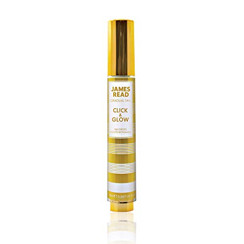 James Read Gradual Tan – Click & Glow Tan Drops 15 ml, Bronceado Personalizado, Portátil, fácil de aplicar, amigable para viajes, vitamina E, Aloe Vera, ácido hialurónico, para todos los tonos de piel