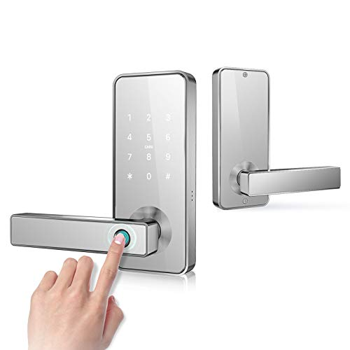 Keyless Entry Door Lock Smart Biometric Fingerprint Door Handle with Bluetooth App Anti-Peep Pin Code RFID Card Key Unlock Safe Front Door Lever for Home Office Apartment Garage by Nyboer(White)